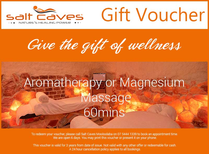 Salt Caves Aromatherapy or Magnesium Massage Gift Voucher | 60mins
