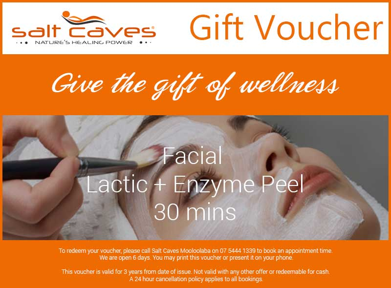 Salt Caves Facial Gift Voucher: Lactic + Enzyme Peel: 30 Mins