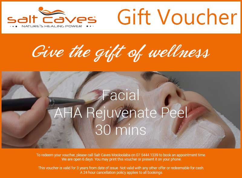 Salt Caves Facial Gift Voucher: AHA Rejuvenate Peel 30 mins
