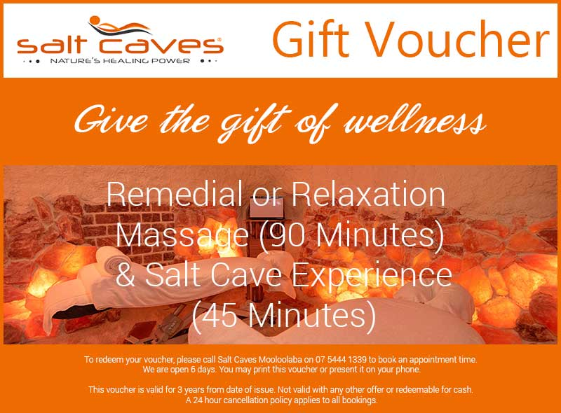 Remedial or Relaxation Massage (90 Minutes) and Salt Cave Experience (45 Minutes) Gift Voucher
